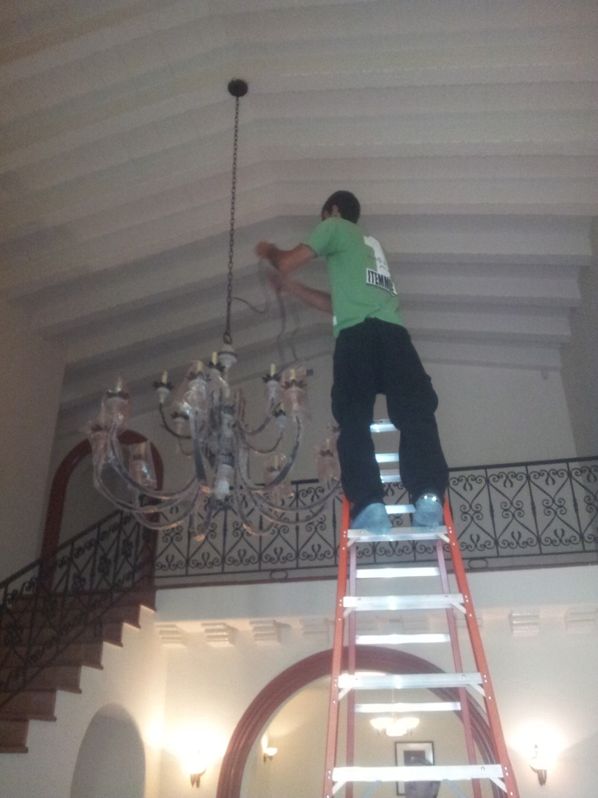 High Ceiling Chandelier Installation, One Item Move Los